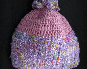 Purple Pom Hat for Women Crochet Winter Hats Hand Knit