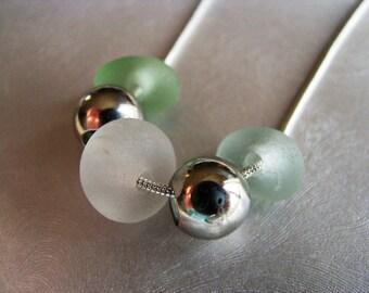 Simple Elegance Triple Sea Glass Pendant - Silver Beads - Pastel Sea Glass Necklace - Unique OOAK Beach Glass Necklace - Pure Sea Glass