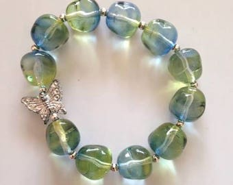 Green and Blue  Butterfly bracelet