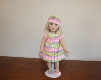 """AG pink, purple, green & yellow dress, shoes, hat, undies, AG doll clothes, 18"""" doll clothes, 18"""" doll dress, 18 inch doll dress, AG shoes"""