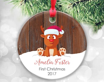Baby's First Christmas Ornament, Baby Ornament, Baby First Ornament, Baby Girl Gift Baby Girl Christmas Gift Baby Deer Ornament Santa Sleigh
