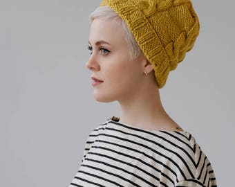 Mustard Yellow Beanie Hat | Hand Knit Hat | Mustard Beanie | Women's Winter Hat | Sarah Chambray