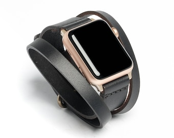 Triple Tour™ Full Grain Leather Apple Watch Band - Black | Wickett & Craig® | Made in USA