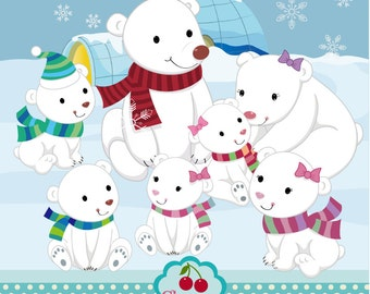 Snow Bear Digital Clipart Set-Polar Bear digital clipart -Polar bear family-Personal and Commercial Use