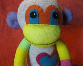 Flip - Best Friend Sock Monkey Plush - Gray Stripes Pink - Handmade Doll