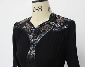 SALE Vintage 1930's Sequin and Beaded Black Blouse