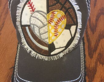 Baseball, Basketball, Soccer, Football, Softball, Volleyball Hat-Mom, All Sports, Ball, Team, Gift, Mother's Day, Cross Country