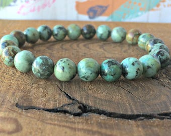 A Grade African Turquoise Bracelet, Wrist Mala Beads, Healing Crystals, Chakra Jewelry, New Beginnings - Emotional Balance - Personal Growth
