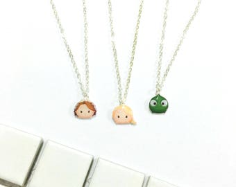 Rapunzel and Pascal Disney Princess Inspired Tsum Tsum Necklace - Disney Charm, Tsum Tsum earring, Gift for Her, Princess Jewelry