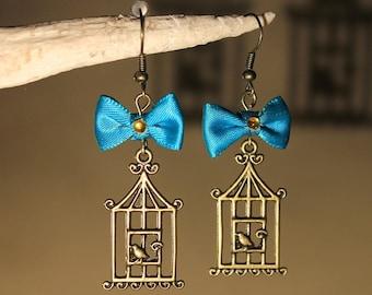 "Earrings ""bird cage"" steampunk, retro, fantasy."