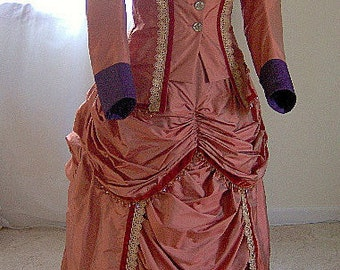FOR ORDERS ONLY - Custom Made for You - 1870s Victorian Dress 1880s Bustle Gown Old West - Sass - Skirt Bodice - 1800s Wedding Bridal