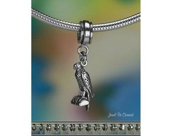 Sterling Silver Falcon Charm or European Style Charm Bracelet .925