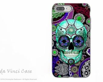 Purple Paisley Sugar Skull - Dia De Los Muertos iPhone 7 PLUS - 8 PLUS Tough Case - Dual Layer Protection - Sugar Skull Sombrero Night