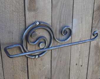 Wrought iron paper towel holder, Hand forged, Blacksmith, Kitchen decor, Kitchen storage