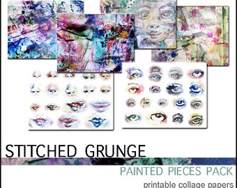 Painted Pieces Pack - Stitched Grunge - Digital Download Printables for Art Journaling and Paper Crafting