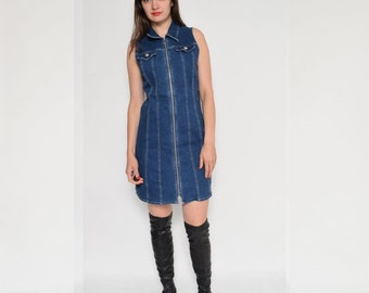 Vintage 90's Blue Denim Zipper Dress