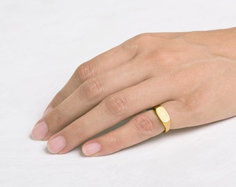 Pinky Signet Ring, Rectangle Pinky gold ring, geometric pinky ring, Solid Gold 18k band signet ring pinkie Seal ring size 3 4
