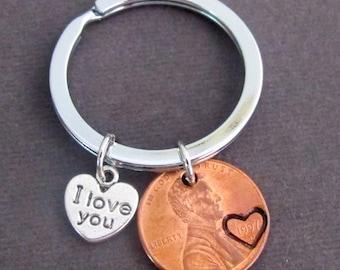 Ich liebe dich Penny Keychain, Paare Schlüsselanhänger, Kupfer Glückspfennig, Jubiläumsgeschenk, Mann-Frau-Schlüsselanhänger, seiner Ihr Geschenk, kostenlos Versand USA