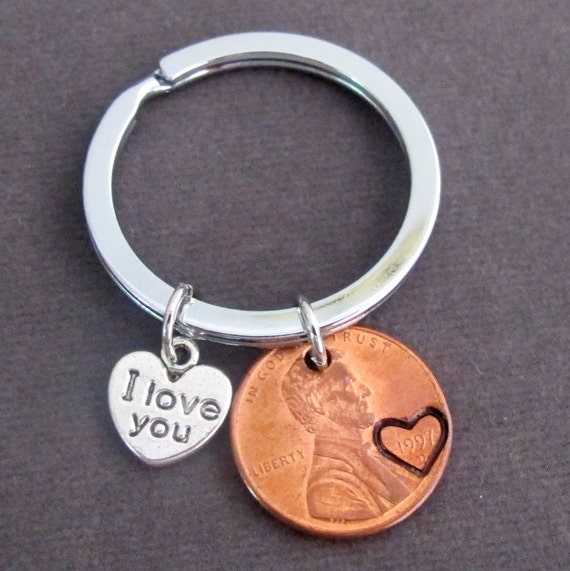 I Love you Penny Keychain, Couples Keychain, Lucky Copper Penny, Anniversary Gift, Husband Wife Key Chain, His Hers Gift, Free Shipping USA
