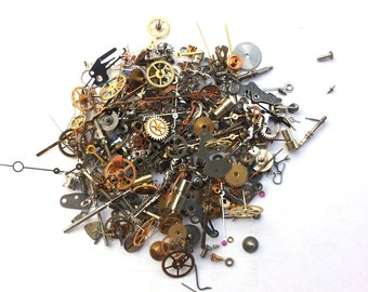 Steampunk Watch Parts - 300 plus pieces of TEENY TINY VINTAGE gears, cogs, wheels, hands, crowns, stems, etc.