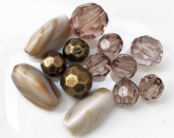 eco friendly mixed lot of acrylic beads//creamy beige antiqued gold multi facetted transparent smoky--lot of 13