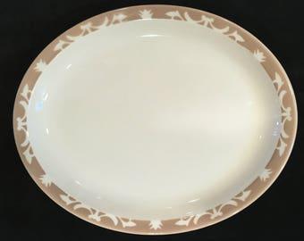 "Syracuse 13-1/4"" Diner Hotel Restaurant Ivory & Tan Nutmeg Pattern Platter in Excellent Condition"