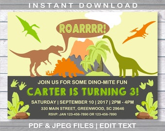 Dinosaur Birthday Invitation, Dinosaur Invitation, INSTANT DOWNLOAD, Dinosaur Birthday, Dinosaur, Dinosaur Birthday Party, Dinosaur Party