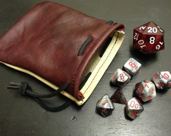 Dice bag, leather dice bag,  drawstring bag, leather bag, small dice bag