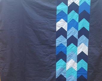Blue Arrow Quilt - Teal Throw - Ombre Geometric Quilt - Modern Quilt Throw - Shades of Blue Quilt - Blue Lap Quilt - Ocean Patchwork Quilt