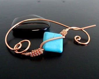 Turquoise Brooch, Shawl Pin, Scarf Pin, Sweater Brooch, Hair Pin, Knitting Accessories, Copper Wire pin