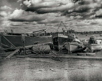 Barges and Boats. A vintage style fine art photographic print. Fine art photography. Wall Art. Suffolk landscape photography.