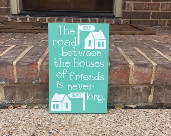 Moving gift etsy moving gift moving away gift the road between custom wood sign housewarming gift negle Choice Image