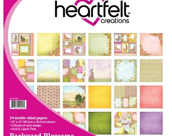 Heartfelt Creations Backyard Blossoms Collection Paper Pad -Blossoms Paper - 12x12 - Pink And Yellow Paper - Flower Scrapbook Paper - 9-326