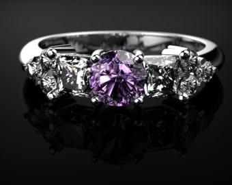 White Gold Amethyst Engagement Ring White Gold Ring Gemstone Engagement Ring Amethyst Engagement Ring February Birthstone