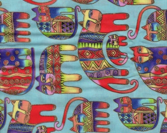 RARE Laurel Burch Fanciful Felines Cats 1/2 Yard Fabric