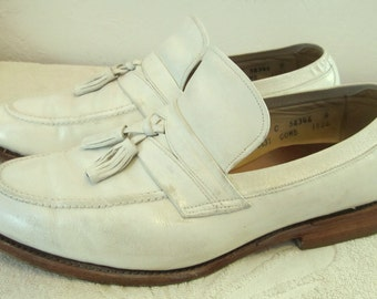 Marked Down@@Men's Vintage 80's,Stylin' White All Leather HIPSTER style Loafers by ALLEN EDMONDS.9.5C