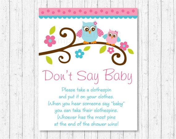 Don T Say Baby Game Owl Baby Shower Pink Owl