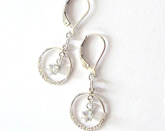 White Zircon Textured Circle Drop Earrings, 4mm Natural Zircon Gemstones, Sterling Silver Leverbacks