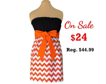 Orange + Black Chevron Game Day Dress