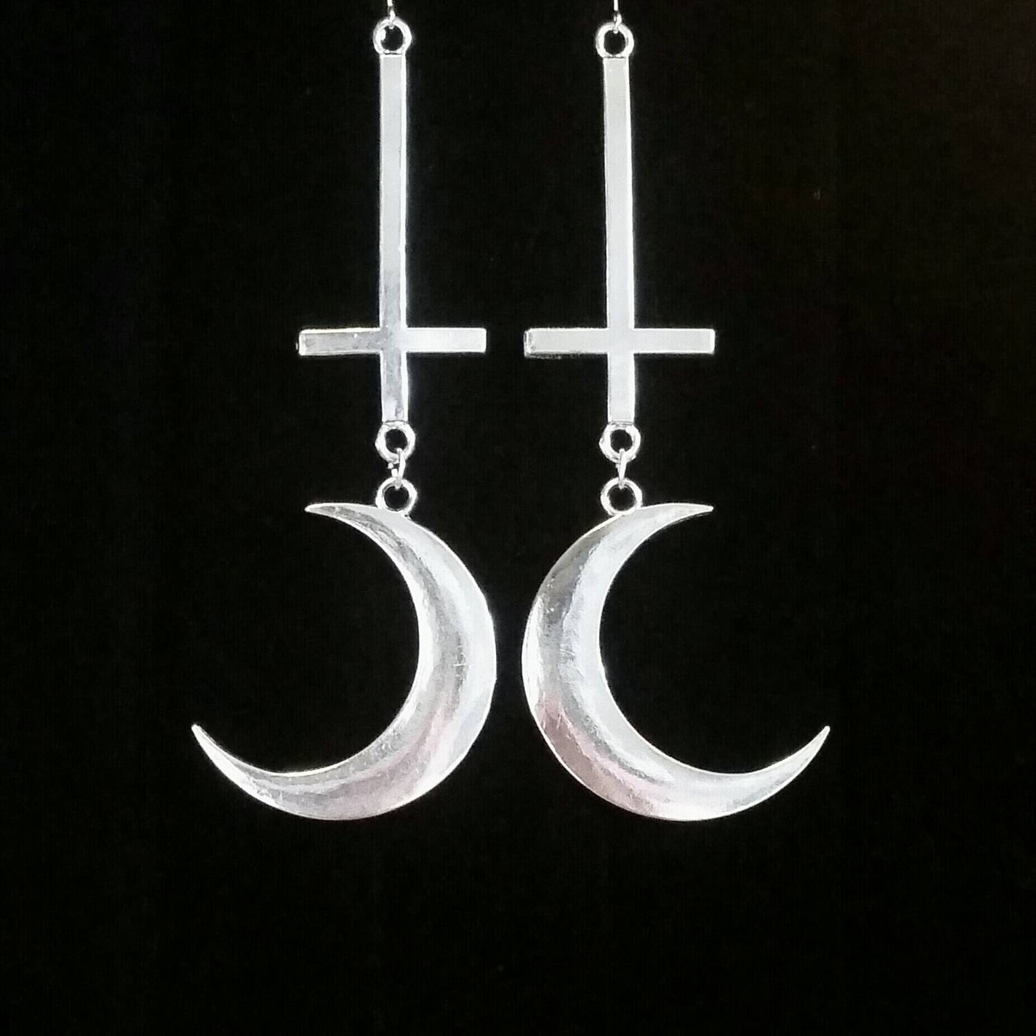 Satanic witch crescent moon earrings boline inverted cross zoom buycottarizona Choice Image