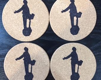 Set of 4 round cork Arrested Development coasters-GOB Bluth on Segway.