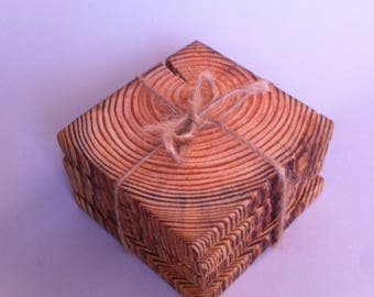 Reclaimed wood coasters, Set of 4 Square shaped wooden coasters,