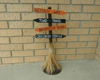 Halloween Broomstick Sign-Halloween Directional Sign-Halloween Witch Sign-Treat or Treat Sign