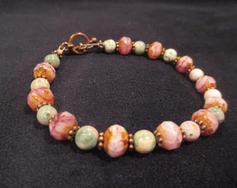 Peace jade and pink cut czech glass bracelet with copper