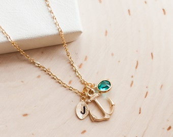 Bridesmaid anchor necklace personalized initial birthstone  necklace set personalized jewelry bridal wedding party set of 4 5 6 7 8 9 / 321