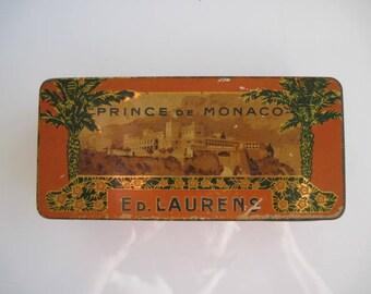 Prince de Monaco Gold Tipped cigarette tin (100/empty) by Ed Laurens c.1920
