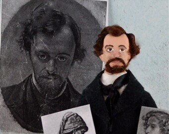 Dante Gabriel Rosetti Doll Miniature Artist  Famous Painter Caricature