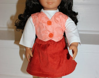 18 inch Doll Clothes,Doll Clothes,Doll Skirt and Vest,Doll,Doll Outfit