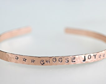 Skinny Cuff - Hand Stamped Cuff, Hammered Gold Cuff, Stacking Cuff, Gift For Her, Name Jewelry, Inspirational Gift, Engraved Cuff