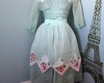 Sheer Mint Green Gauzy Hostess Apron, Vintage Pink Floral Cotton Handkerchief hem